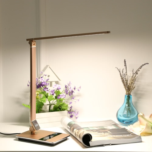 Tomshine Foldable Dimmable Touch Sensitive Control LED Desk Lamp 8.5W 500LM 3 Color Temperature 3000K 4500K 6000K Stepless Adjustable Brightness Eye-Care Ultrathin Aluminum Alloy Table Light with Power Adapter
