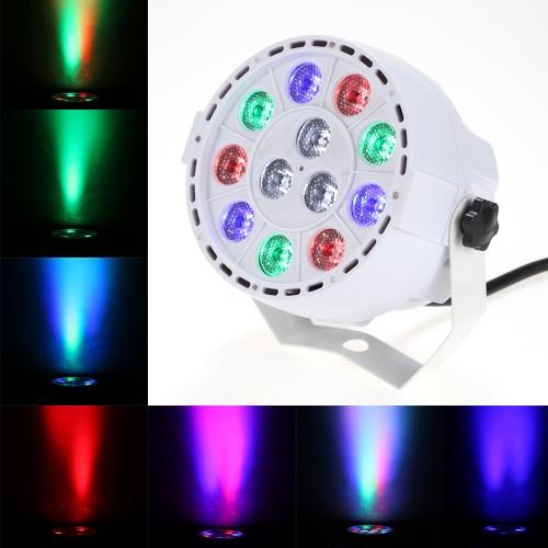 15W 12 LEDs RGBW Par Light Stage Light Flash Strobe Color Mixing DMX512 Sound Activated 8 Channel for Wedding KTV Bar Pub