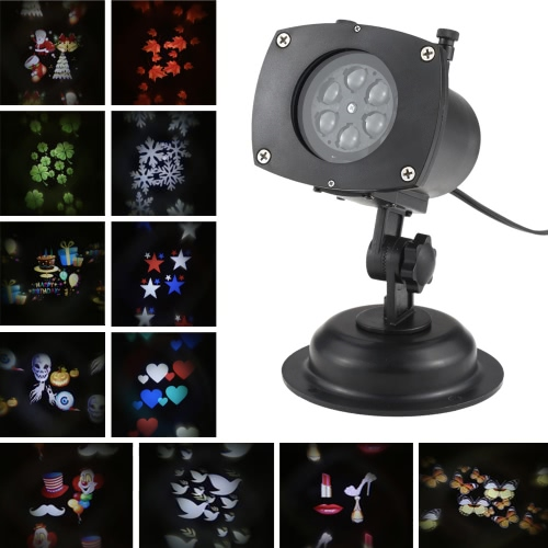 Tomshine Festival Projecteur Lampe Rotative LED Projection Light 12 Patterns