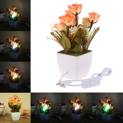 RGB LED Color Change Rose Flower Plant Potted Night Light Switch Control Bedside Decor Lamp Gift Home Illumination