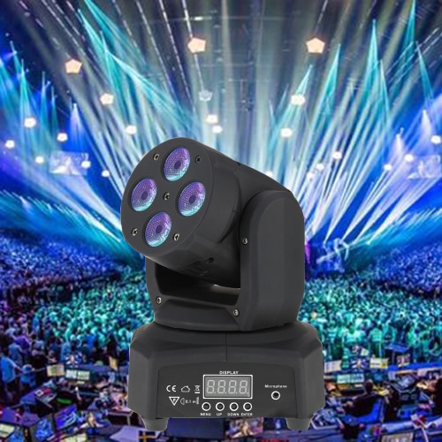 Mini 4 LEDs 50W RGBW Wash Rotating Moving Head Stage Effect Light 14/16 Channel DMX512 Sound-activeated for Indoor Disco KTV Club Party
