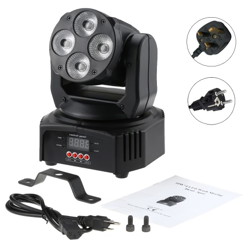 Docooler 50W 4 LED Moving Head Light DMX-512 RGBW Wash Stage Lighting 14/16 Channel DJ Club Party Wedding Show Effect Lighting