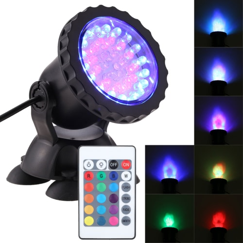 1.5W 36LED RGB Color Change Dimmable IP68 Waterproof Submersible Remote Control Rotatable Spotlight Aquarium Light Fish Tank Suction Lamp