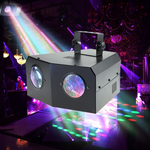110V 18W 120LED Double Eyes RGB Colorful Moon Flower Lamp 16 Geometrical Patterns Stage Effect Light Support DMX512 Sound Activation for KTV Disco DJ Wedding Club Bar Party