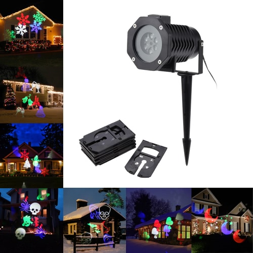 Tomshine 6W 4LED RGBW Outdoor Garden Landscape Lawn Projector Spot Light Snowflake Film Lamp with 10PCS Replaceable Pattern Lens Cards for Halloween Christmas Xmas Festival Birthday Party Decoration