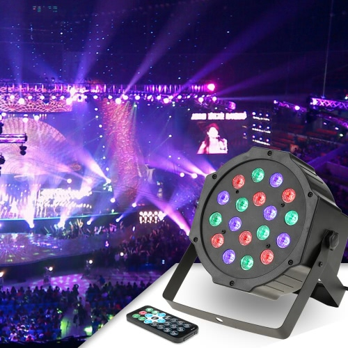 18LED 18W 6Channel Remote Control Mini PAR Light RGB Wash Effect Stage Lamp Support DMX512 Sound Activation for Wedding Party DJ Bar Club