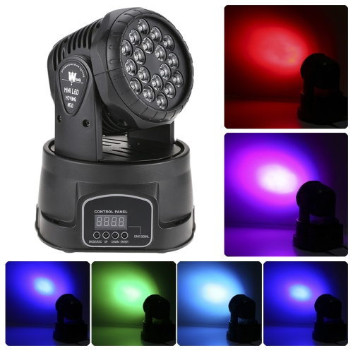 18 x 3W LED RGB Mini Moving Head Light Wash Effect Stage Lamp