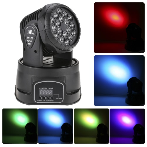 18 x 3W RGB LED 3/9 Channel Wash Effect Mini Moving Head Light