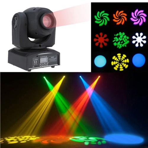 Lixada 50W RGBW Gobo LED Moving Head Stage Effect Light