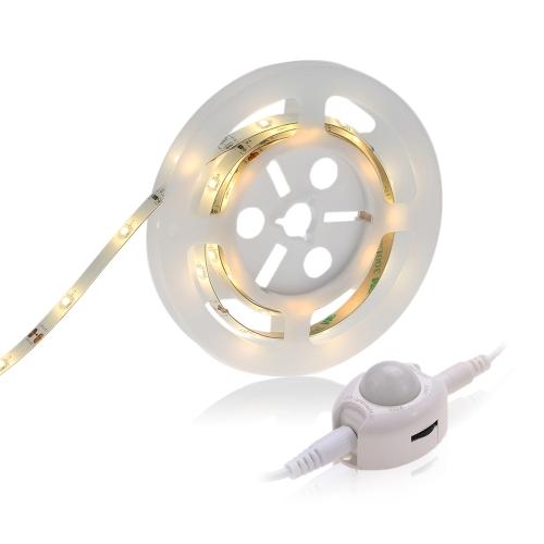 1.2M 3W LED PIR luz de tira Cama simple sensor de movimiento humano Tiempo de luz ajustable