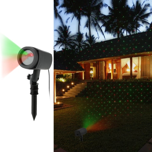 Waterproof Outdoor Remote Control Dynamic Red Green Sky Star Effect Light Timer Lawn Laser Spotlight for Christmas Party