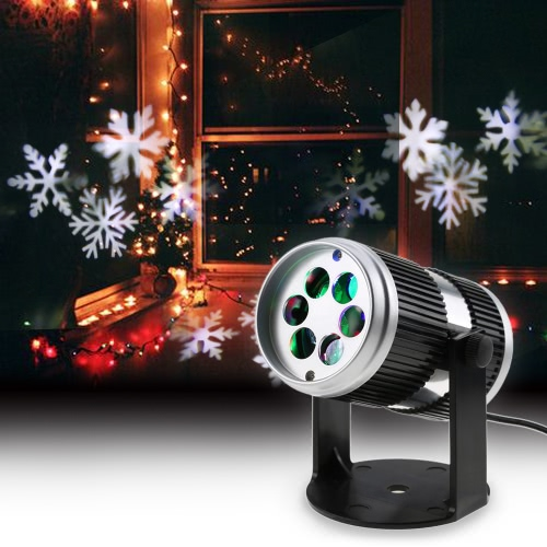 4W 4LEDs Sound Activated Dynamic Moving Snowflake Film Projector