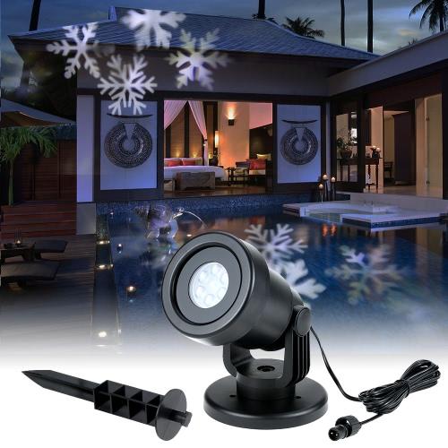 4W 4LED Moving Dynamic Снежинка Кинопроек- Свет с Сменная Base Pattern Украшение сада лужайки Фестиваль лампы Spotlight для Рождество Xmas венчания партии