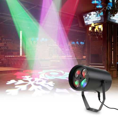 12W Mini 4 LEDs RGBW Pattern Stage Light 4 Patterns Effect Aluminum Lamp Support Sound Activation Auto Run IR Remote Control for Indoor KTV Party Club Disco Pub Bar Banquet School Show Wedding