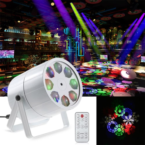24W 8 Channels Mini 8 LEDs RGBW Pattern Stage Light 8 Patterns Effect Lamp Support DMX512 Sound Activation Auto Run IR Remote Control for Indoor KTV Party Club Disco Pub Bar Banquet School Show Wedding