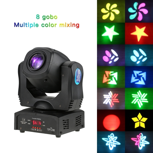 Tomshine Total Power 80W DMX512 Sound Control Auto Rotating 9 / 11 Channels Rainbow 8 Colors Changing Head Moving Light LED Stage Gobo Pattern Lamp for Disco KTV Club Party
