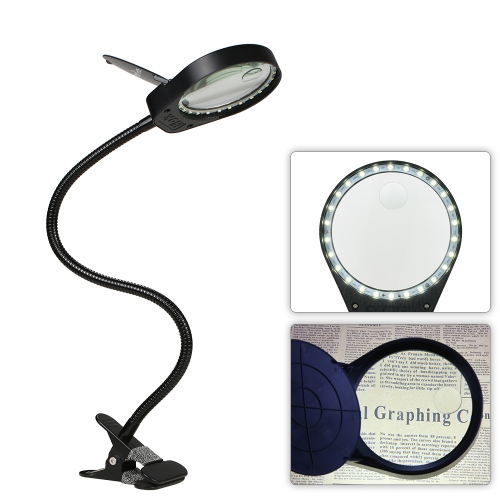 Tomshine LED 3X/10X Magnifier Glass with Clamp Clip Table Light