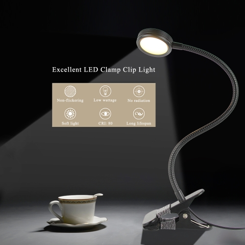 3W  LED Eye Protection Clamp Clip Light Table Desk Lamp Ultra Bright Bendable USB Powered Flexible for Reading Working Studying