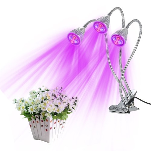 Tomshine LED Plant Grow Light,15W Red/Blue spectrum Plant Bulb with adjustable Gooseneck for Indoor Plants,seed starting ,Greenhouse flowers, Plant Lamp stand with Three on/off Switch