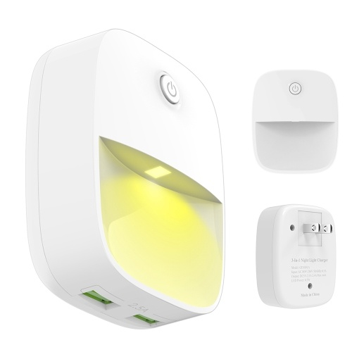 3-in-1 5V 2.5A Phone Wall Charge with Dual USB Ports Lighting & Sound Sensor Wall Lights