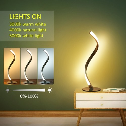 Tomshine 6W Spiral LED Table Light Dimmable 3 Lighting Colors Bedside Desk Lamp Nightstand Lamp for Bedroom Living Room Office