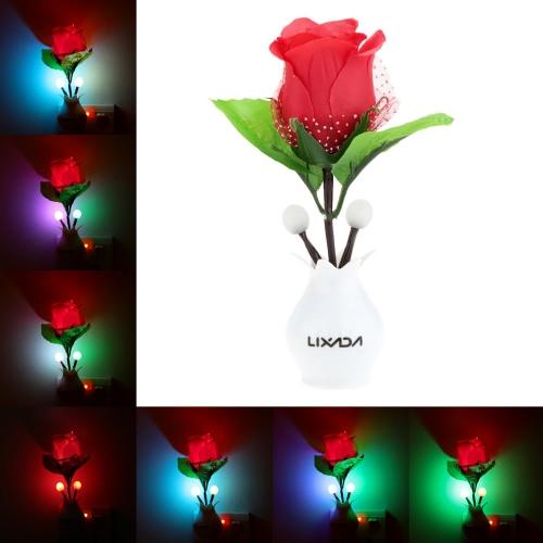 Lixada LED Color Change Light Sensor Energy Saving Red Rose Flower Plant Potted Bed Decor Night Lamp Home Illumination