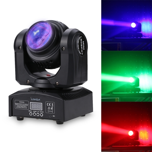 Lixada 2LED Total Power 35W RGBW 15 / 21 Channel DMX 512 Double Sides Beam Infinite Rotating Moving Head LED Stage Light Pattern Lamp for Indoor Disco KTV Club Party