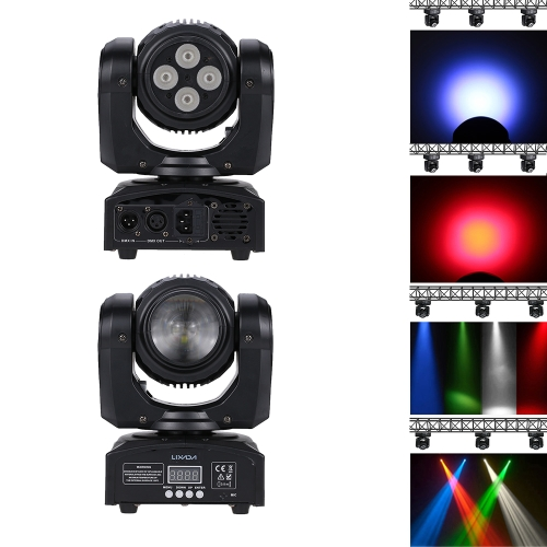 Lixada 50W 5LEDs Beam Wash Double Sides RGBW Moving Head Stage Light