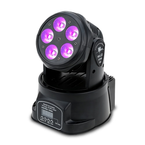 Lixada 75W 5 LED DMX512 Sound Control Auto Rotating 10 / 15 Channels Colors Changing Head Moving Light Stage Wash Lamp for Disco KTV Club Party