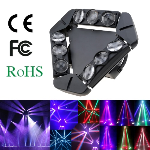 Lixada 140W DMX512 Sound Control Auto Rotating 1/12/14/18/50 Channels Color Changing Beam Triangle LED Stage Light Gobo Pattern Lamp for Disco KTV Club Party