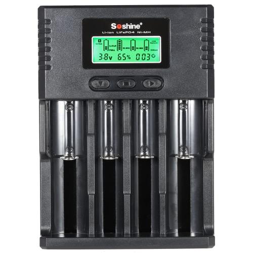 Soshine 4-канальный ЖК-дисплей универсальный регулируемые текущий зарядное устройство для аккумулятора АА ААА Selesctable(1.2V) 16340 14500 10440 18650 26650 литий четырехгранный-ion/LiFePO4/NiMH/Ni-Cd 3.7V/3.2V