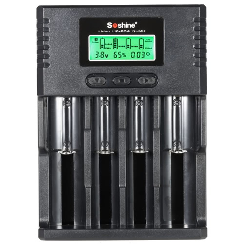 Soshine 4-Channel LCD Display Universal Adjustable Current Battery Charger for Rechargeable Li-ion/LiFePO4/NiMH/Ni-Cd 3.7V/3.2V Selesctable(1.2V) 16340 14500 10440 18650 26650 AA AAA