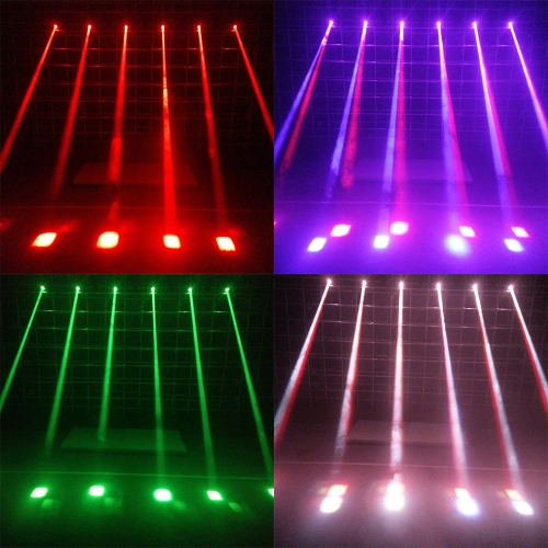 Lixada LED Stage Effect Lamp Total 50W Rotating Moving Head DMX512 Sound Activated Master-slave Auto Running 11/13 Channels RGBW Color Changing Beam Light for Disco KTV Club Party
