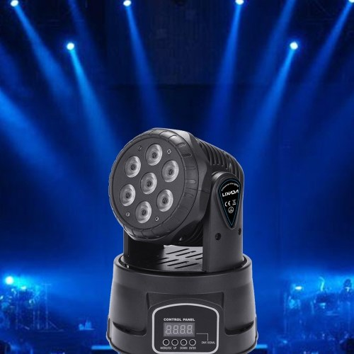 Lixada 7 LEDs 105W RGBW 9/14 Channel DMX512 Mini Stage Light