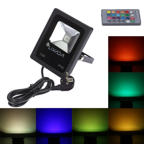 Lixada 10W LED RGB Floodlight Outdoor Security Floodlight Water-resistant IP66 Multi Color Changing Spotlight Remote Control Provided Wall Washer Light