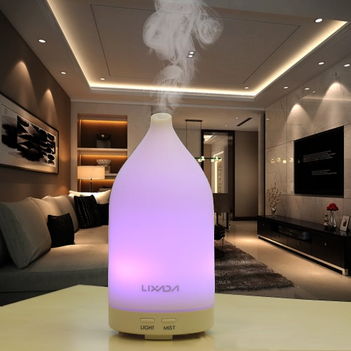 Lixada  TUV Certification Ultrasonic Aroma Diffuser 100ml Air Humidifier LED Night Light Color Changing Multicolored Brightness Adjustable Essential Oil Adjustable Home Mist Steam Maker Fogger Office Children's Room Use EU Plug