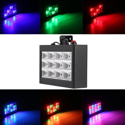 AC110-240V 12 LED 9W Strobe Etap efekt świetlny RGB Flash Light Stage Party Oświetlenie aktywowane dźwiękiem Auto Run Club Disco DJ Bar