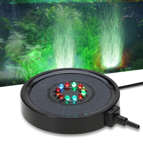 IP68 Waterproof Submersible Underwater Aquarium Bubble Curtain Light Mini Color Changing 12 LED Fish Tank Lamp with 1.5m Pipe Tube for Air Pump
