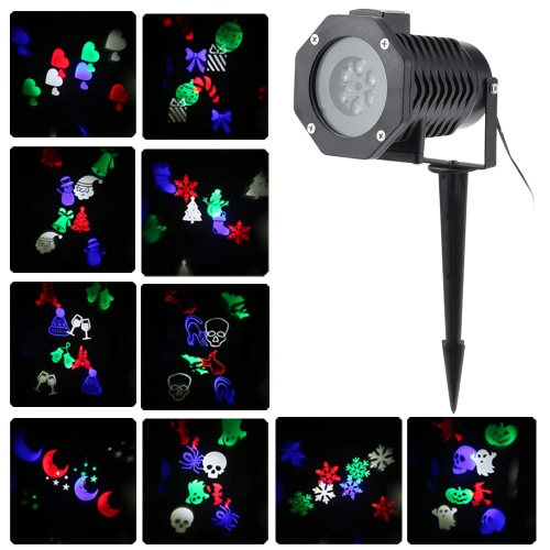 Tomshine 6W 4LED RGBW Outdoor Snowflake Film Projector Spot Light