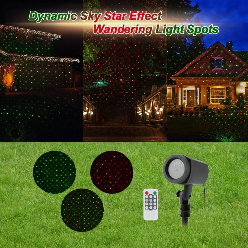 IP65 Water Resistant Outdoor Remote Control Dynamic Red Green Sky Star Effect Light