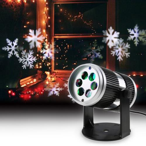 4W 4LED Snowflake dinámico sonido ajustable proyector patrón decoración Spotlight
