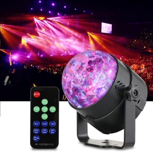 3W Mini RGB Water Wave Ripple Effect LED Stage Light Lamp 7 Colors Support Sound Activation Auto IR Remote Controller for KTV Party Club Disco Pub Bar Banquet School Show Home Entertainment
