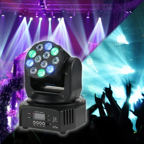 Tomshine 40W 12 LED RGBW Washing Effect Moving Head Stage Light AC90-240V 14/16 Channels Support Sound Activation Auto DMX512 Master-Slave Mode for Party KTV Pub Bar School Show Wedding   Ceremony