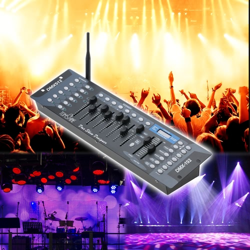 Tomshine 192 Channels Stage Light DMX512 Console de contrôleur sans fil avec Transmitter Party DJ Disco Operator Equipment