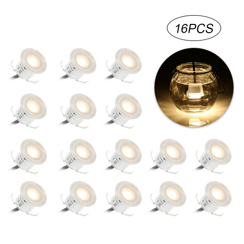 Tomshine 16PCS 0.6W High Bright Recessed LED Deck Light Water Resistance IP67 In Ground Outdoor Landscape LED Lighting for Stair Patio Garden Floor Corner Sauna Room Bathroom