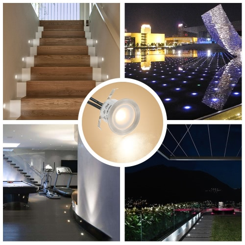 Tomshine 16PCS 0.6W High Bright Intégré LED Deck Résistance à l'eau légère IP67 In Ground Outdoor Landscape Eclairage LED pour escalier Patio Garden Floor Corner Sauna Room Salle de bain