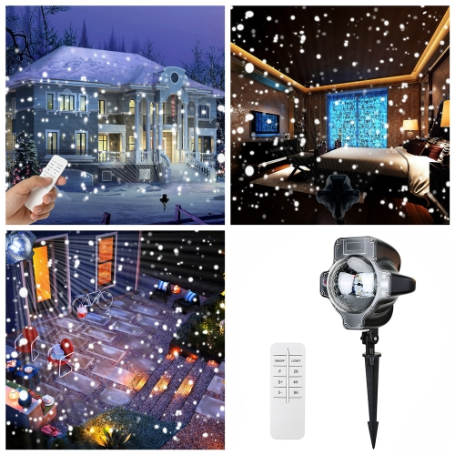 Tomshine LED Snowflake Projector Light IP44 Water-resistance Rotating Speed Adjustable Timing Snow Lamp with Remote Control for Outdoor Indoor Xmas Halloween New Year Festival Gift Decoration