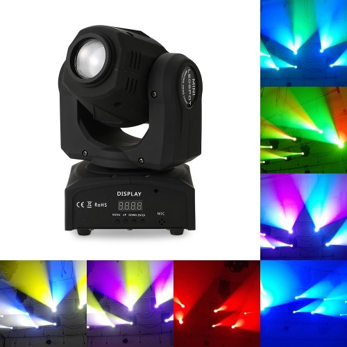 30W Rainbow 7 Colors Changing LED Head Moving Pattern Stage Light