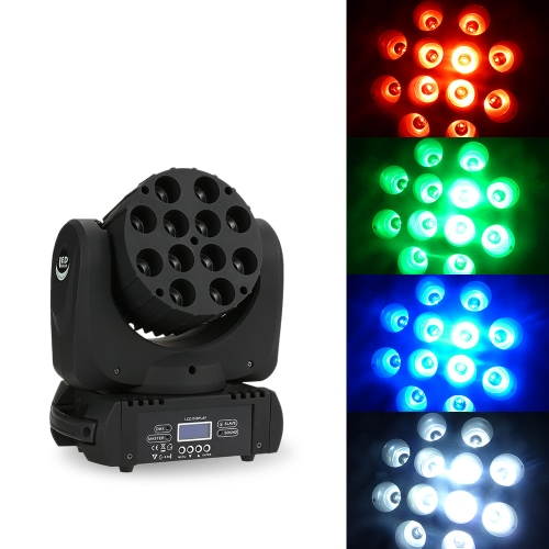 12LEDs RGBW Mini Beam Moving Head Stage Light DMX512 Master-slave Auto Sound for Club DJ Show Party Ballroom Bar