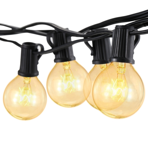 Tomshine G40 Incandescent String Light 2 Spare Bulbs Total Power 175W 25FT E12 Base for Patio Garden Backyard Party Christmas Holiday Wedding Decorations